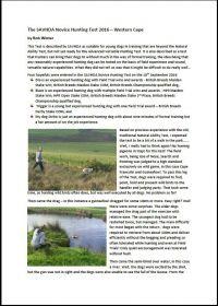 The SAVHDA Novice Hunting Test 2016